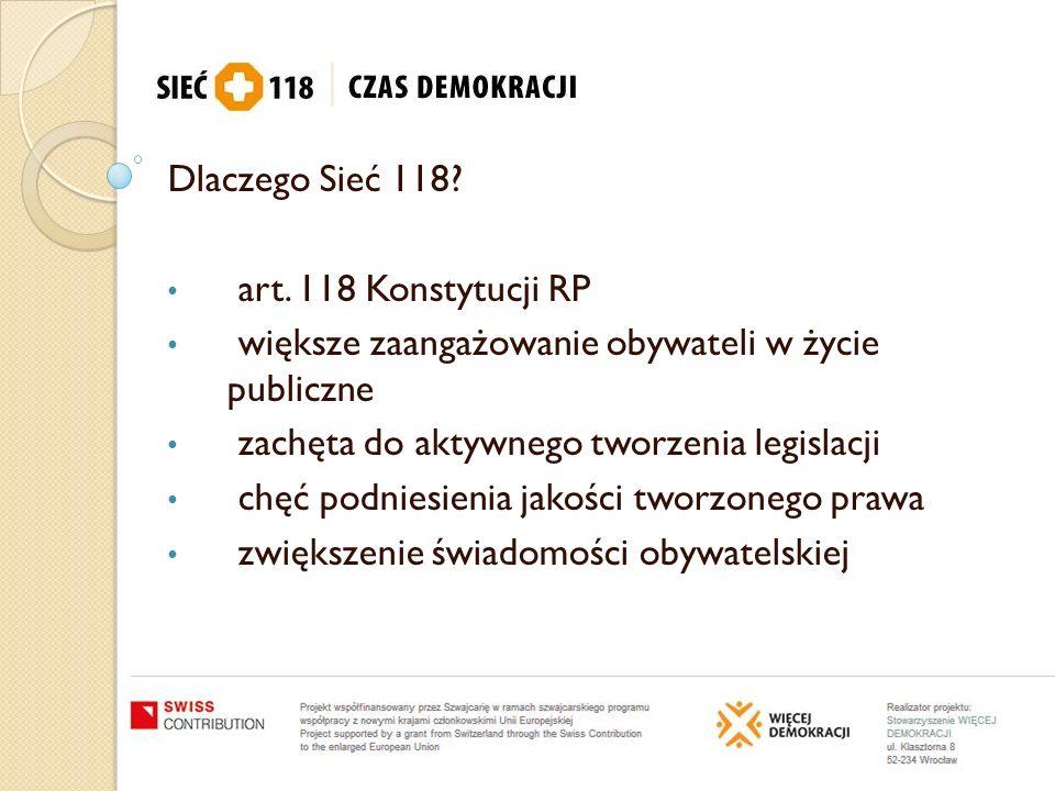 Dlaczego Sieć 118 art. 118 Konstytucji RP. większe zaangażowanie obywateli w życie publiczne. zachęta do aktywnego tworzenia legislacji.