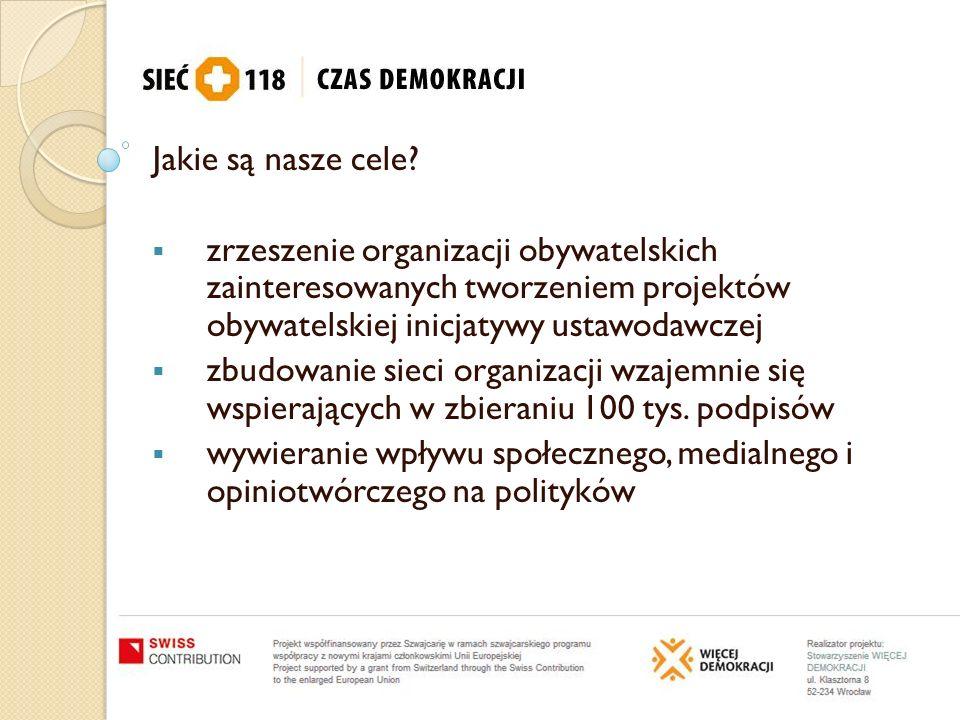 Jakie są nasze cele zrzeszenie organizacji obywatelskich zainteresowanych tworzeniem projektów obywatelskiej inicjatywy ustawodawczej.