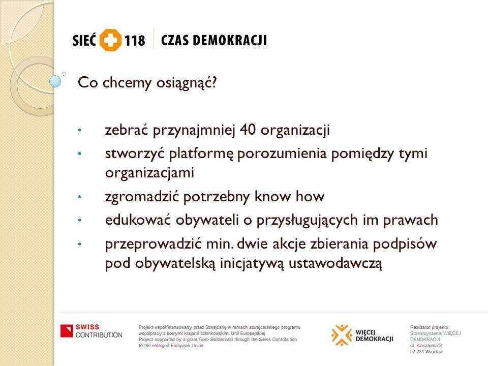 Co chcemy osiągnąć zebrać przynajmniej 40 organizacji. stworzyć platformę porozumienia pomiędzy tymi organizacjami.