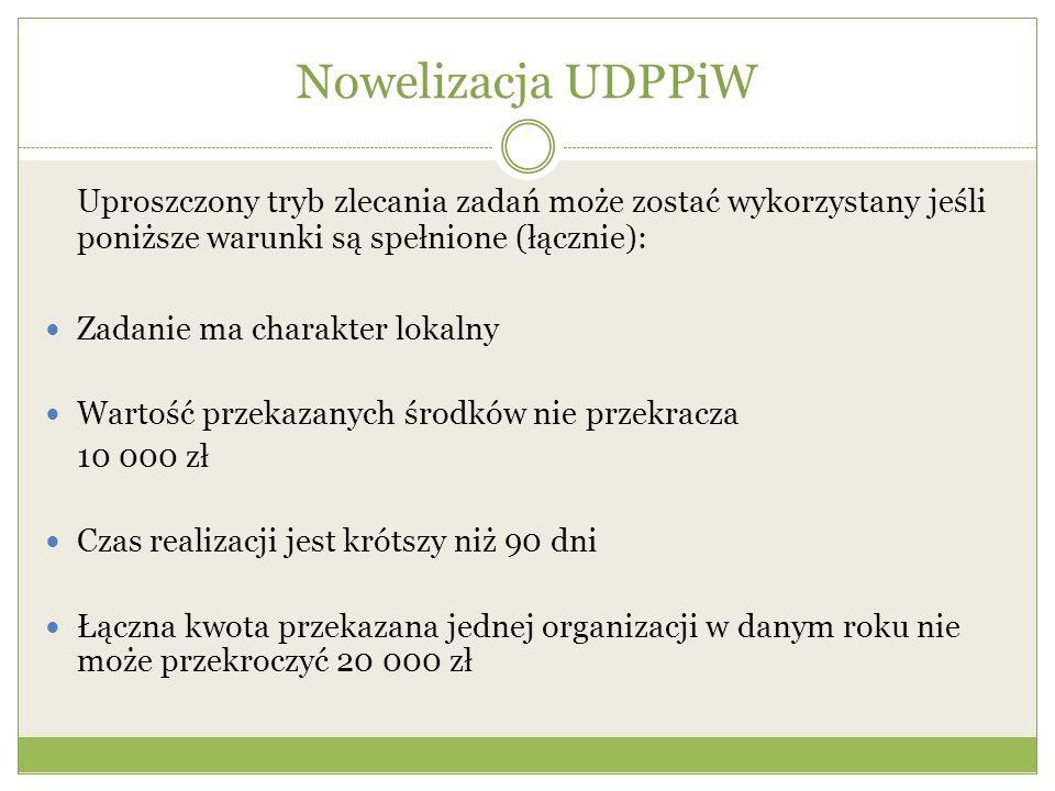 Nowelizacja UDPPiW Uproszczony tryb zlecania zadań może zostać wykorzystany jeśli poniższe warunki są spełnione (łącznie):