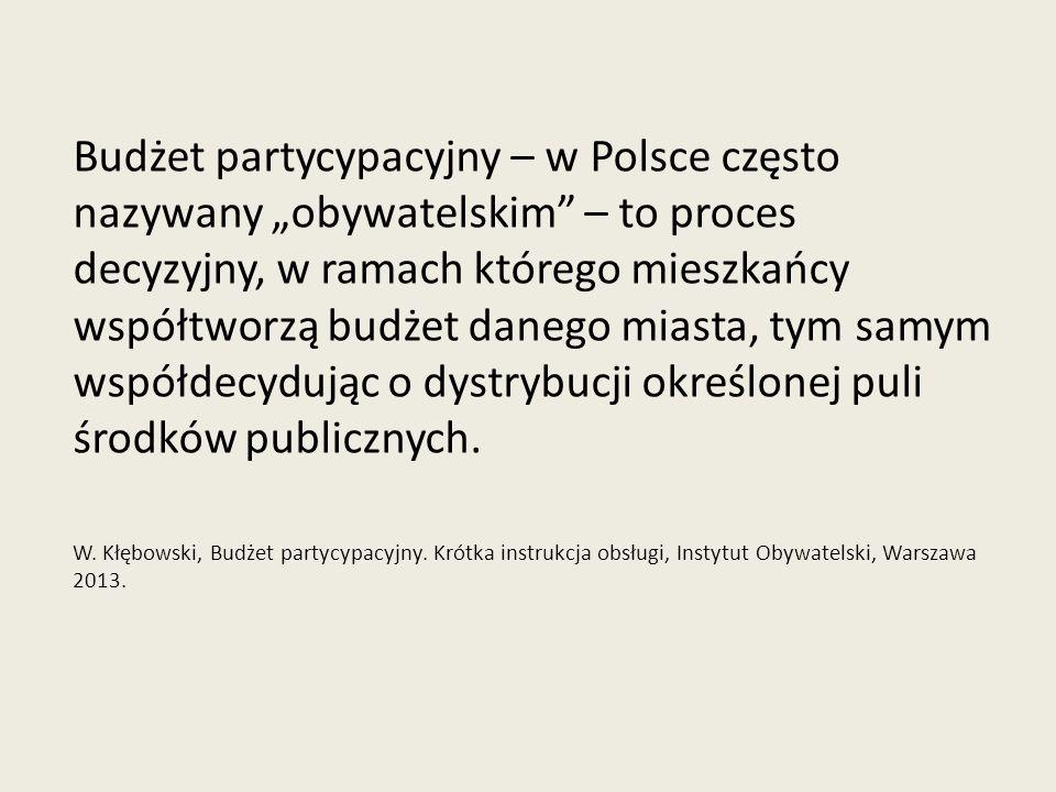 """Budżet partycypacyjny – w Polsce często nazywany """"obywatelskim – to proces decyzyjny, w ramach którego mieszkańcy współtworzą budżet danego miasta, tym samym współdecydując o dystrybucji określonej puli środków publicznych."""