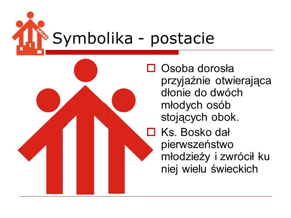 Symbolika - postacie Osoba dorosła przyjaźnie otwierająca dłonie do dwóch młodych osób stojących obok.