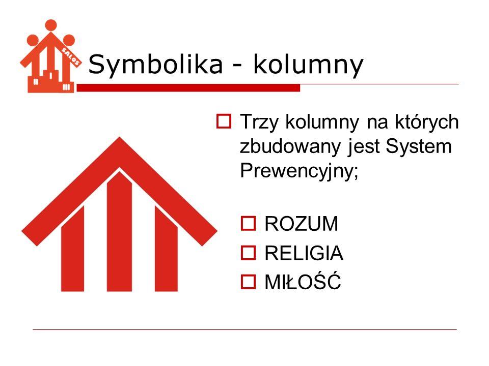 Symbolika - kolumny Trzy kolumny na których zbudowany jest System Prewencyjny; ROZUM. RELIGIA. MIŁOŚĆ.