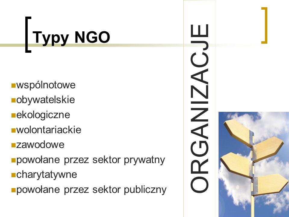 ORGANIZACJE Typy NGO wspólnotowe obywatelskie ekologiczne