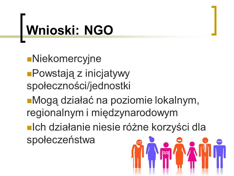 Wnioski: NGO Niekomercyjne