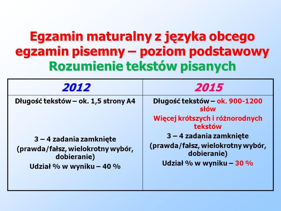 Egzamin maturalny z języka obcego egzamin pisemny – poziom podstawowy Rozumienie tekstów pisanych