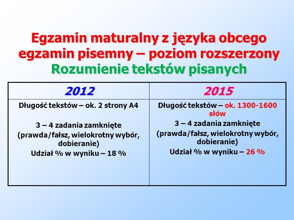 Egzamin maturalny z języka obcego egzamin pisemny – poziom rozszerzony Rozumienie tekstów pisanych
