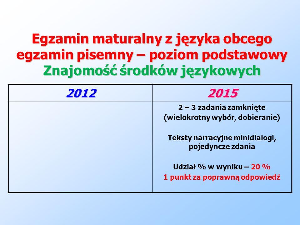 Egzamin maturalny z języka obcego egzamin pisemny – poziom podstawowy Znajomość środków językowych