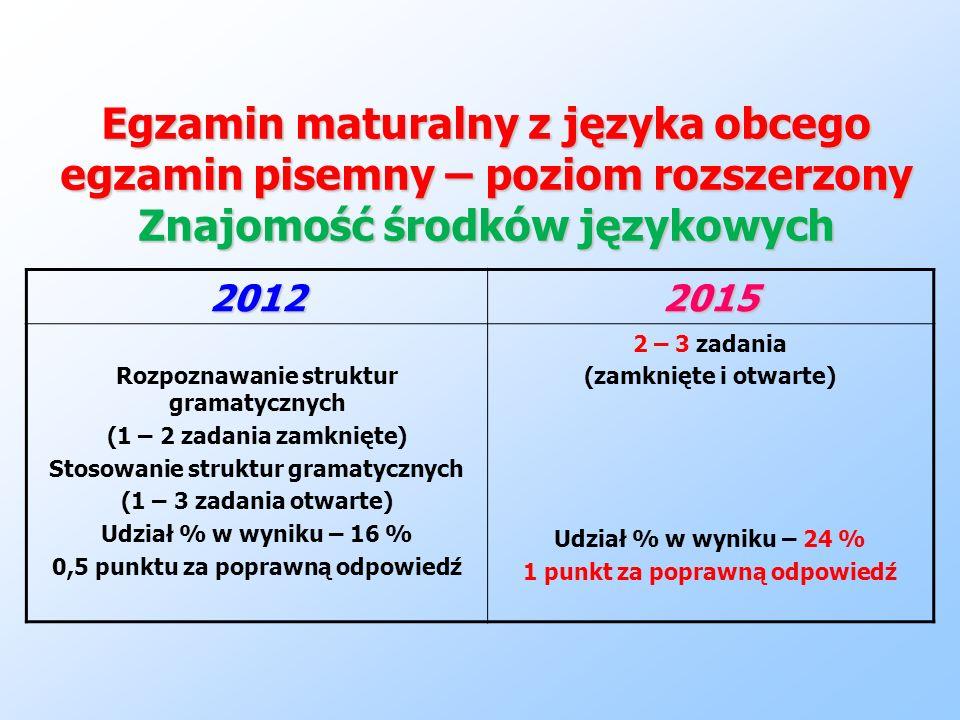 Egzamin maturalny z języka obcego egzamin pisemny – poziom rozszerzony Znajomość środków językowych