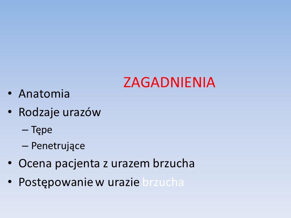 ZAGADNIENIA Anatomia Rodzaje urazów Ocena pacjenta z urazem brzucha