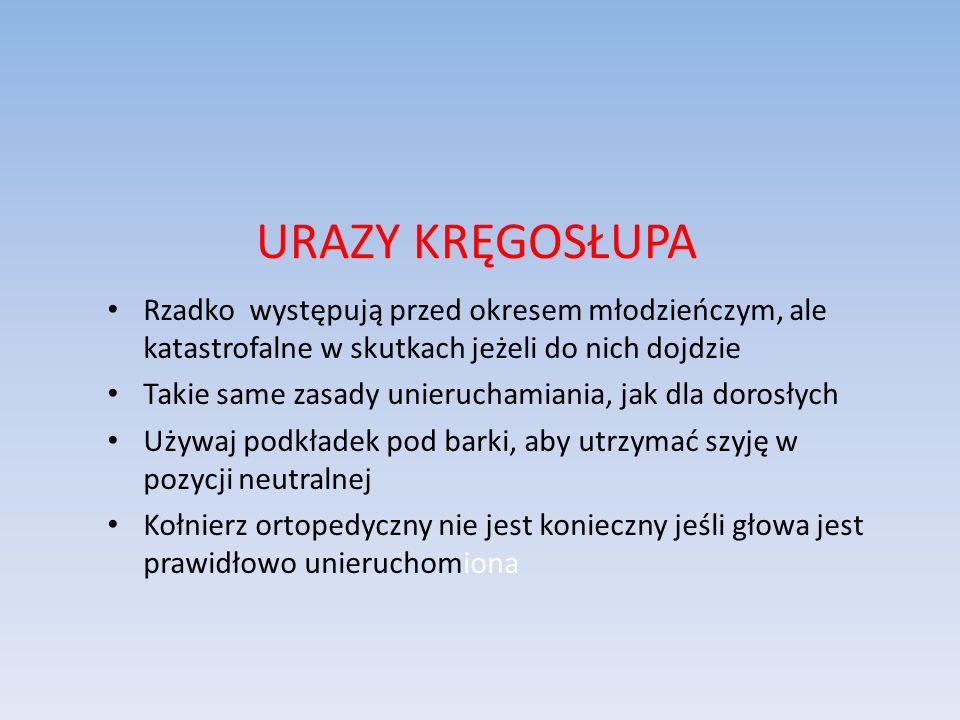 URAZY KRĘGOSŁUPA Rzadko występują przed okresem młodzieńczym, ale katastrofalne w skutkach jeżeli do nich dojdzie.
