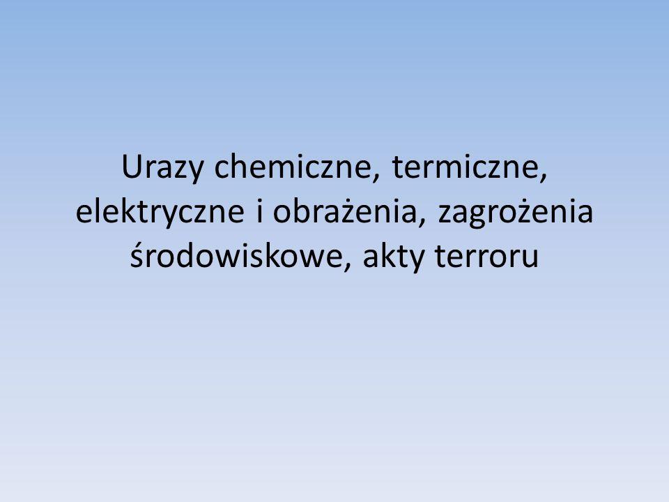 Urazy chemiczne, termiczne, elektryczne i obrażenia, zagrożenia środowiskowe, akty terroru