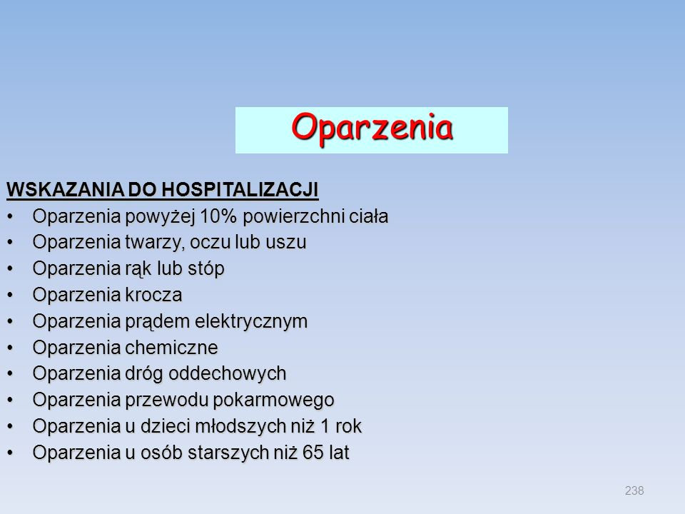 Oparzenia WSKAZANIA DO HOSPITALIZACJI
