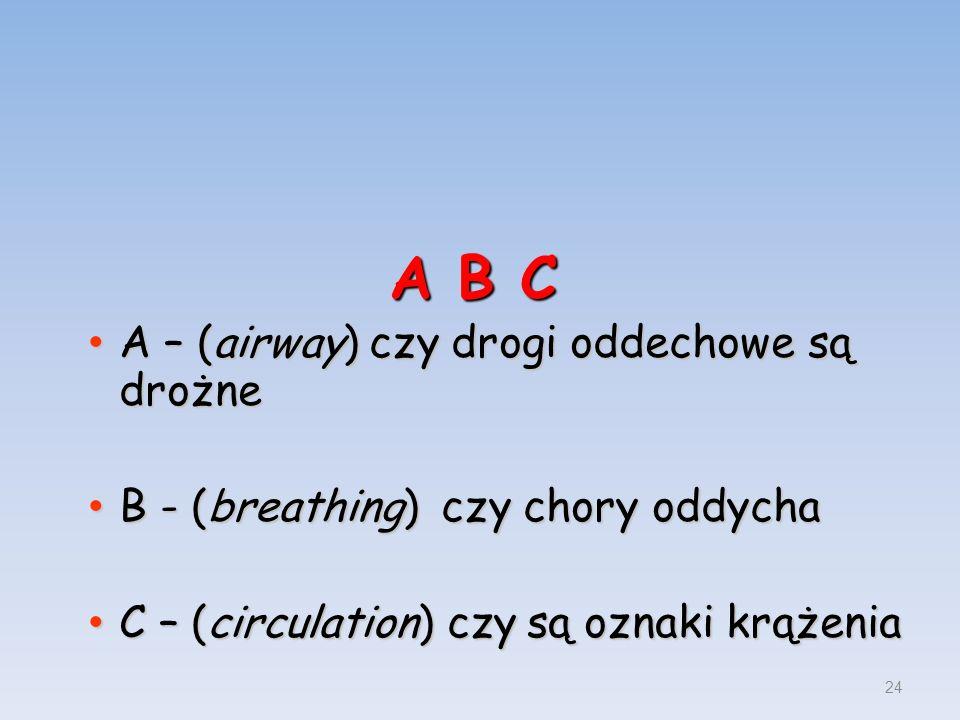 A B C A – (airway) czy drogi oddechowe są drożne