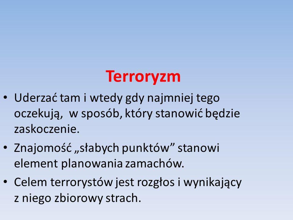 Terroryzm Uderzać tam i wtedy gdy najmniej tego oczekują, w sposób, który stanowić będzie zaskoczenie.