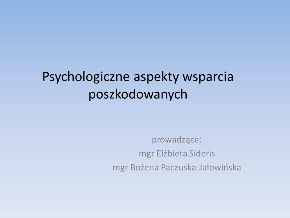 Psychologiczne aspekty wsparcia poszkodowanych