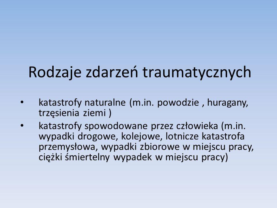 Rodzaje zdarzeń traumatycznych