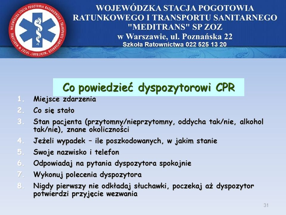 Co powiedzieć dyspozytorowi CPR