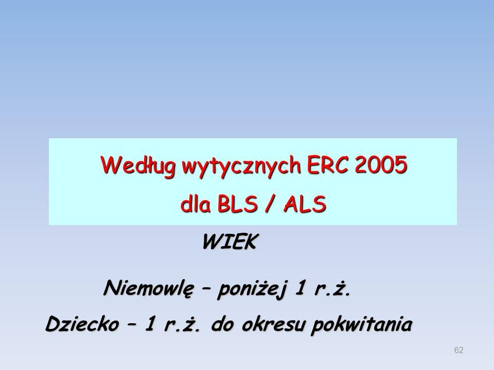 Według wytycznych ERC 2005 dla BLS / ALS