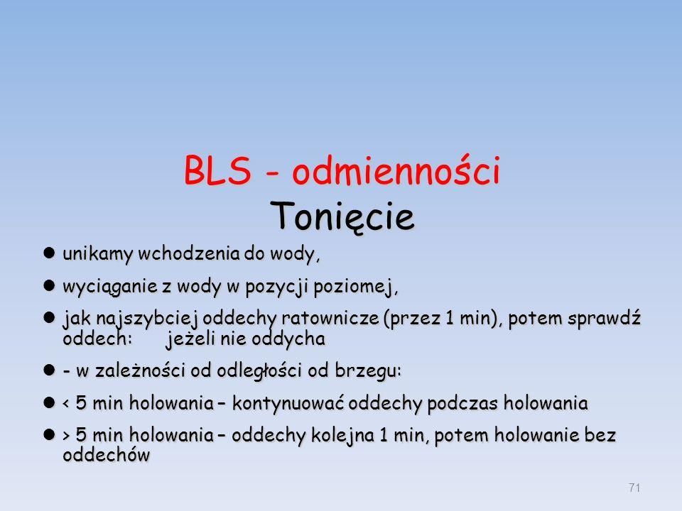 BLS - odmienności Tonięcie