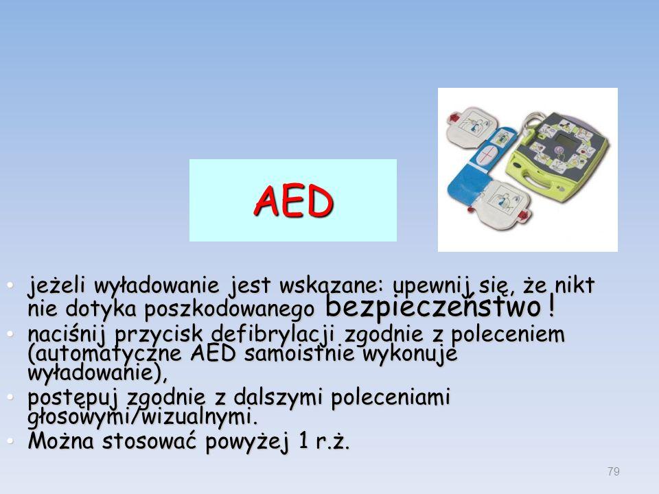 AED jeżeli wyładowanie jest wskazane: upewnij się, że nikt nie dotyka poszkodowanego bezpieczeństwo !