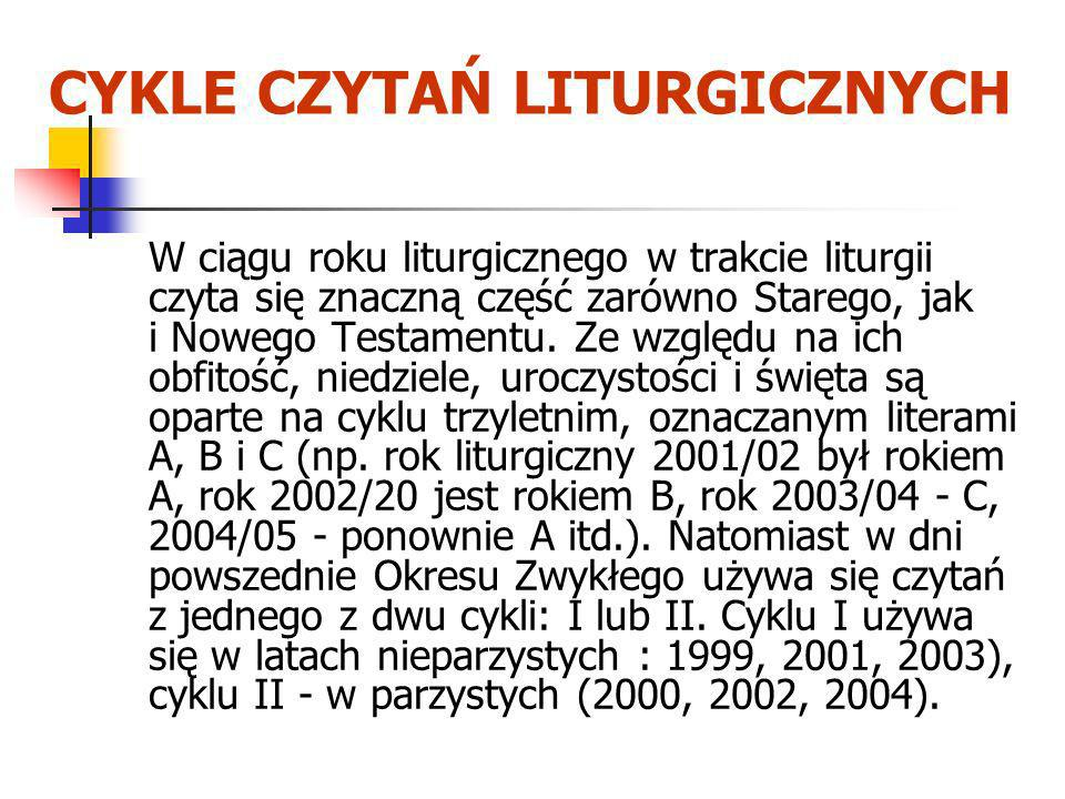 CYKLE CZYTAŃ LITURGICZNYCH