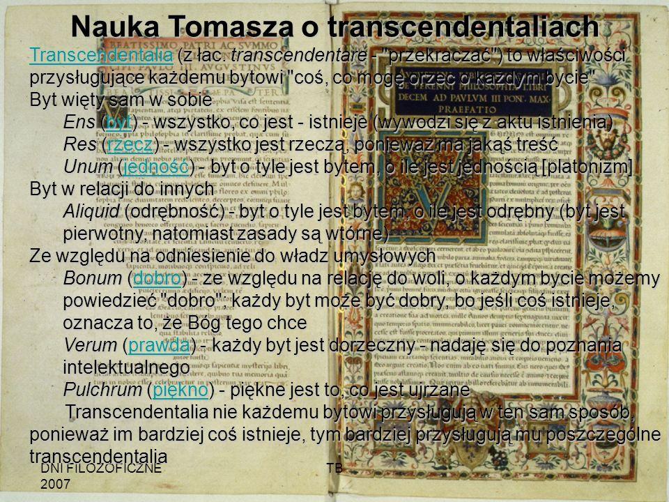 Nauka Tomasza o transcendentaliach