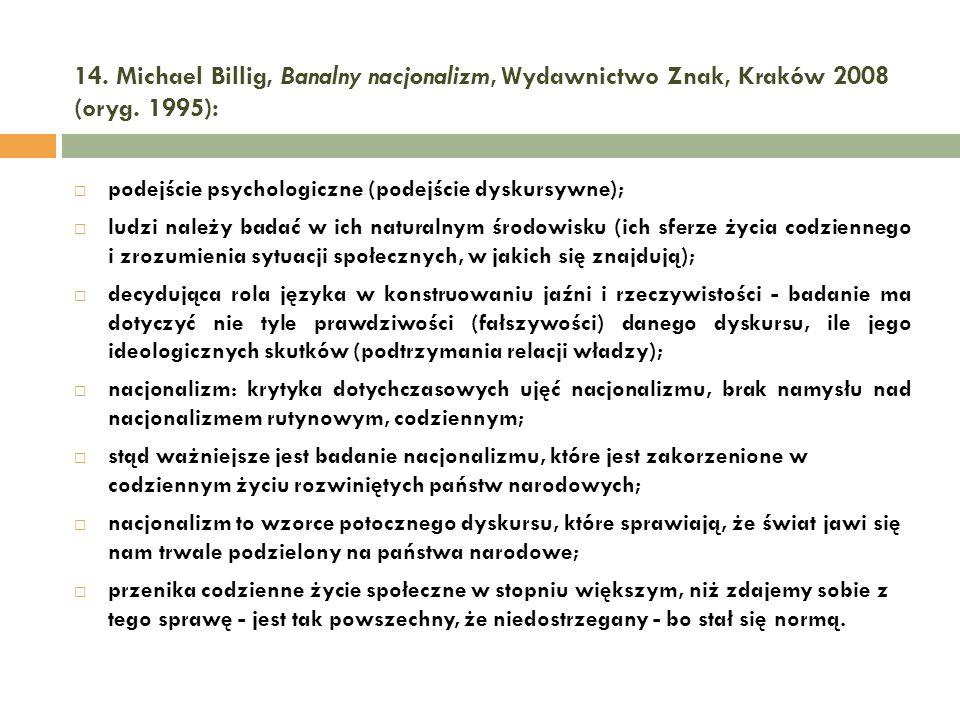 14. Michael Billig, Banalny nacjonalizm, Wydawnictwo Znak, Kraków 2008 (oryg. 1995):