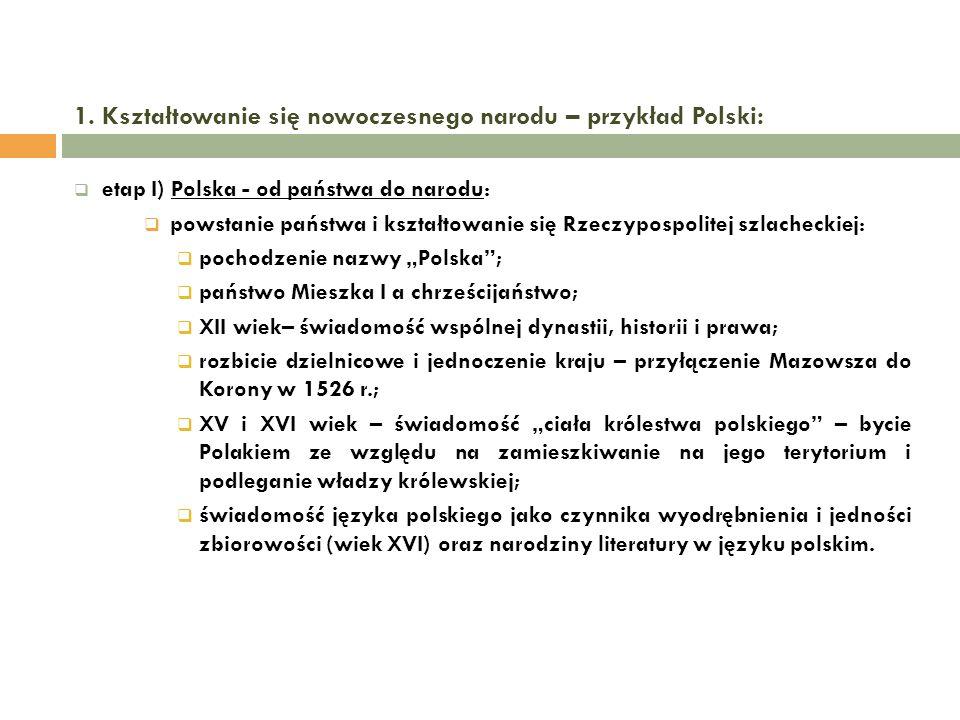 1. Kształtowanie się nowoczesnego narodu – przykład Polski: