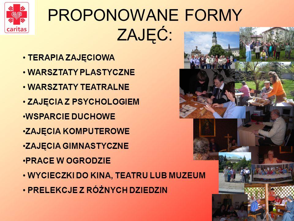 PROPONOWANE FORMY ZAJĘĆ: