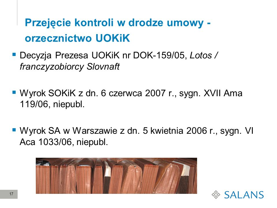 Przejęcie kontroli w drodze umowy - orzecznictwo UOKiK