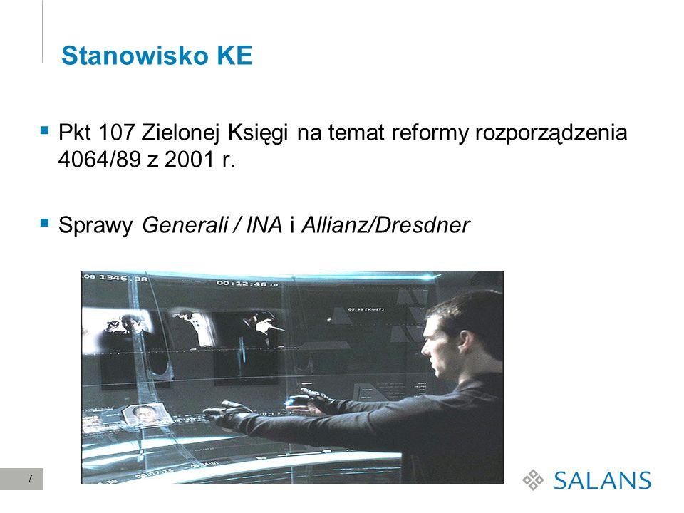 Stanowisko KE Pkt 107 Zielonej Księgi na temat reformy rozporządzenia 4064/89 z 2001 r.