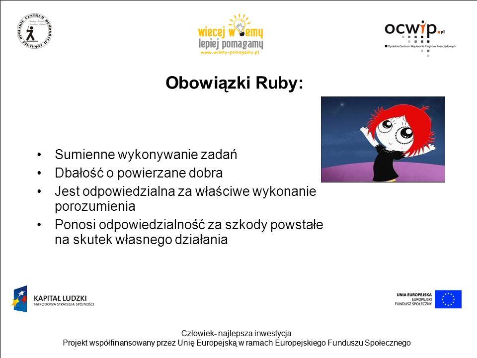 Obowiązki Ruby: Sumienne wykonywanie zadań Dbałość o powierzane dobra