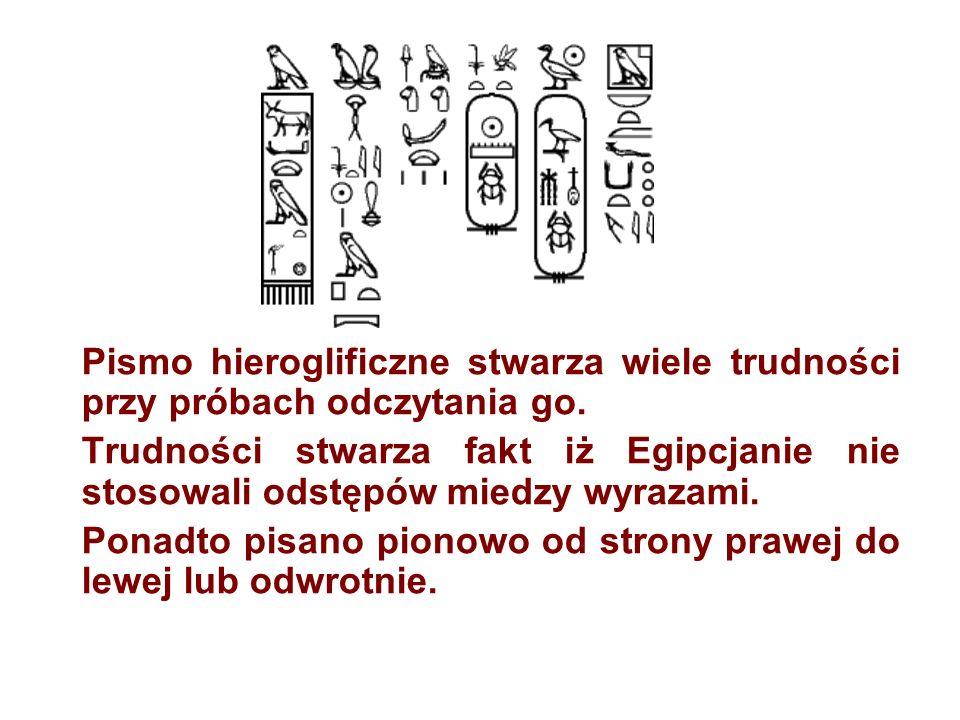 Pismo hieroglificzne stwarza wiele trudności przy próbach odczytania go.