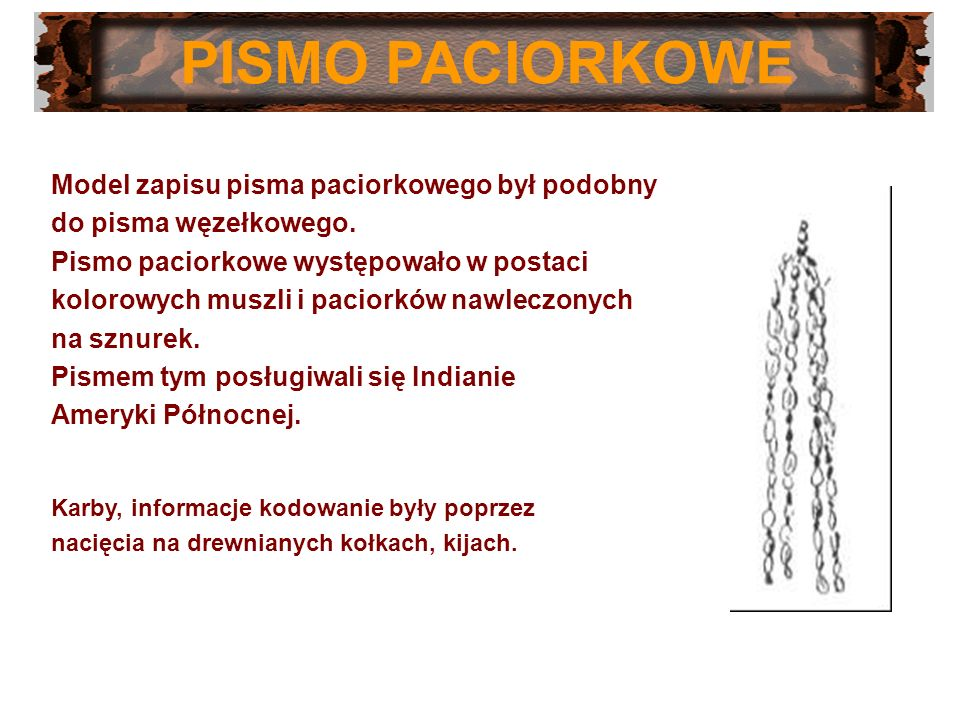 PISMO PACIORKOWE Model zapisu pisma paciorkowego był podobny