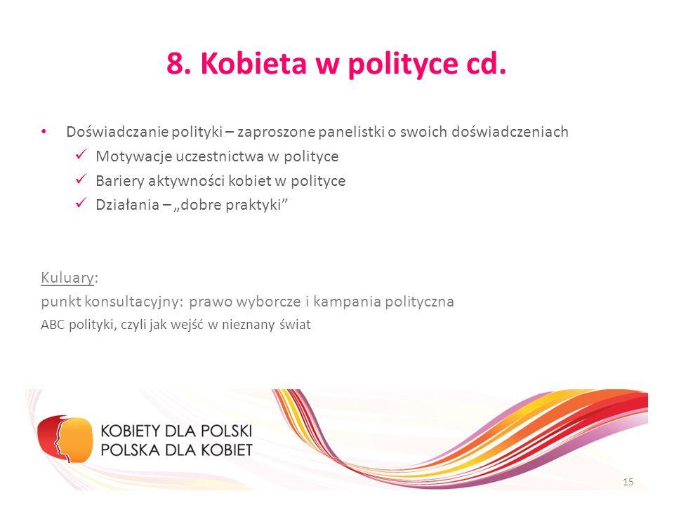8. Kobieta w polityce cd.Doświadczanie polityki – zaproszone panelistki o swoich doświadczeniach. Motywacje uczestnictwa w polityce.