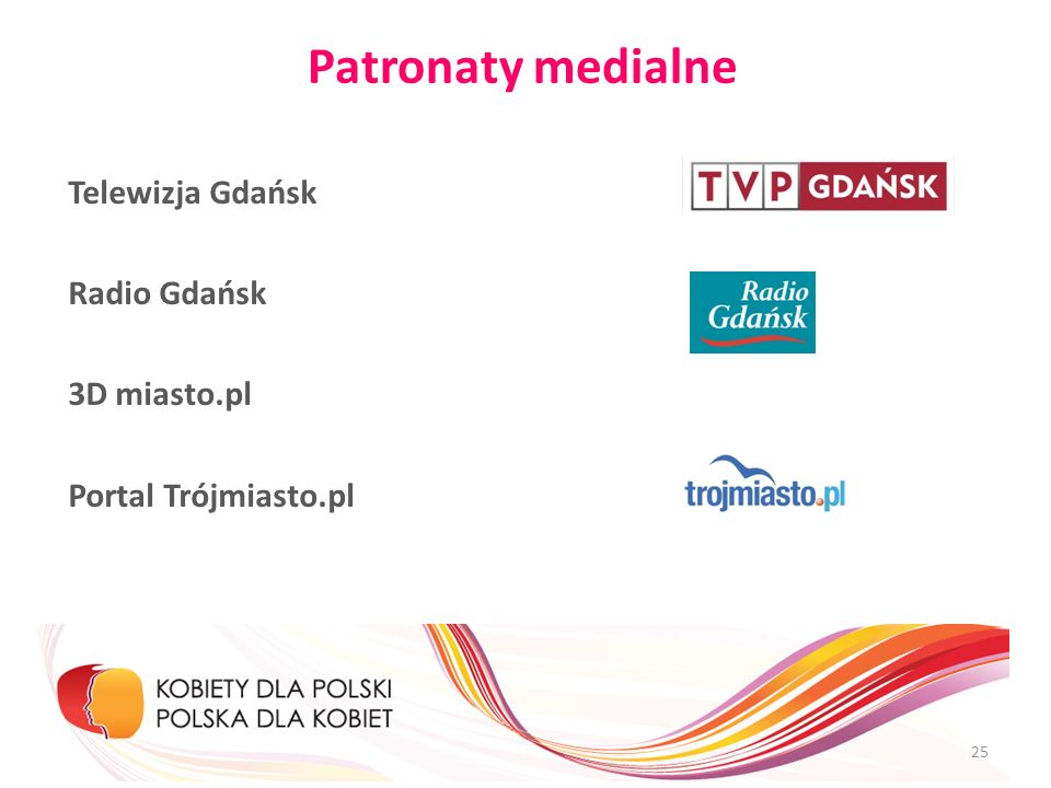 Patronaty medialne Telewizja Gdańsk Radio Gdańsk 3D miasto.pl Portal Trójmiasto.pl