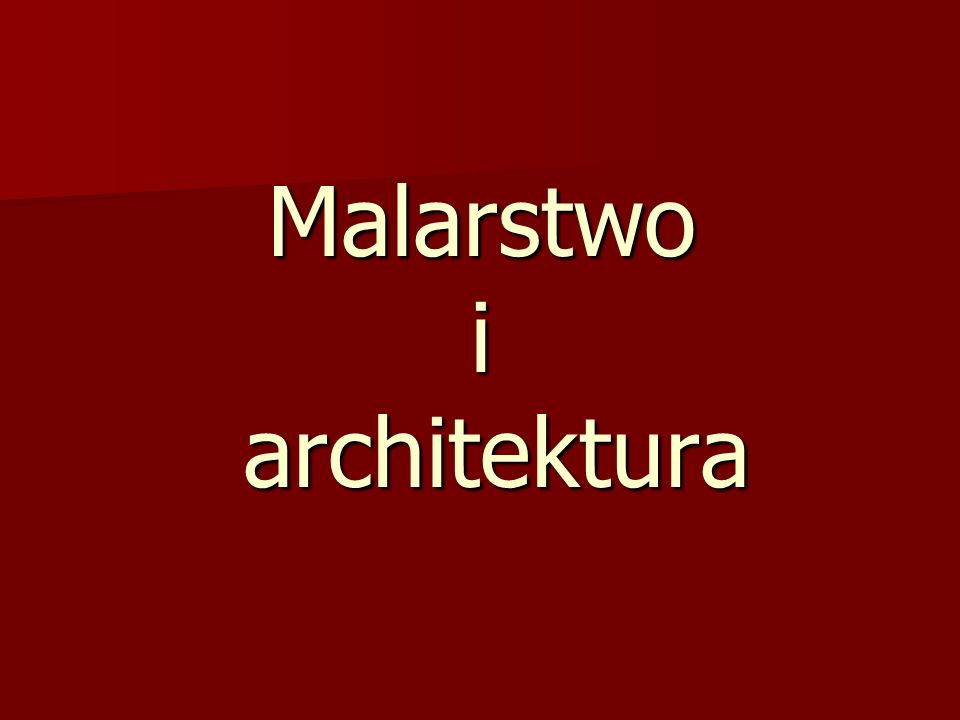 Malarstwo i architektura