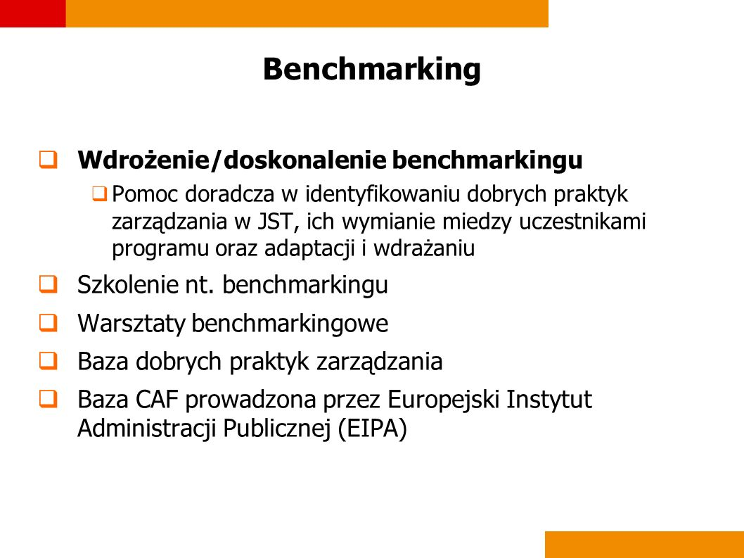 Benchmarking Wdrożenie/doskonalenie benchmarkingu