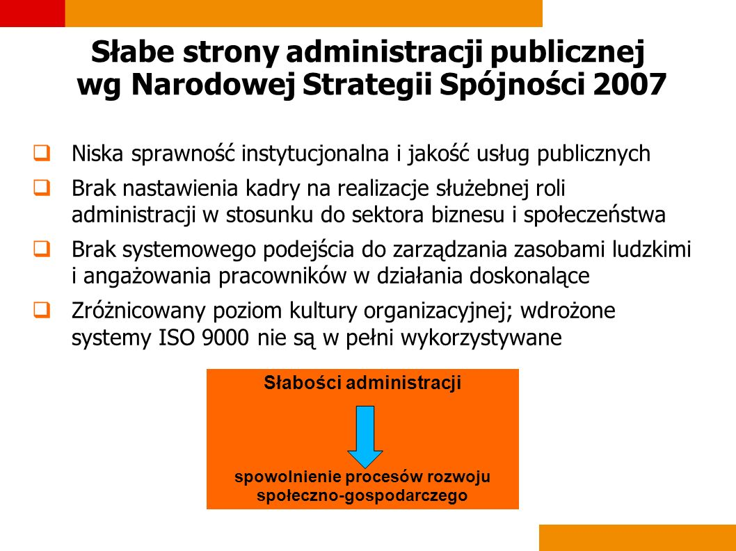 Słabe strony administracji publicznej wg Narodowej Strategii Spójności 2007