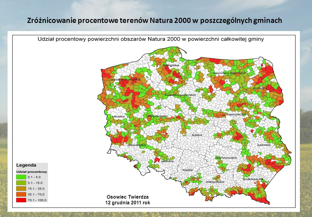 Zróżnicowanie procentowe terenów Natura 2000 w poszczególnych gminach