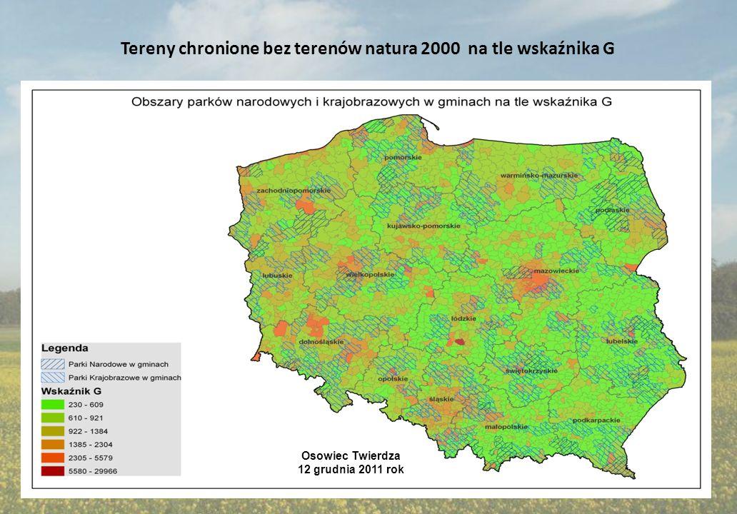 Tereny chronione bez terenów natura 2000 na tle wskaźnika G
