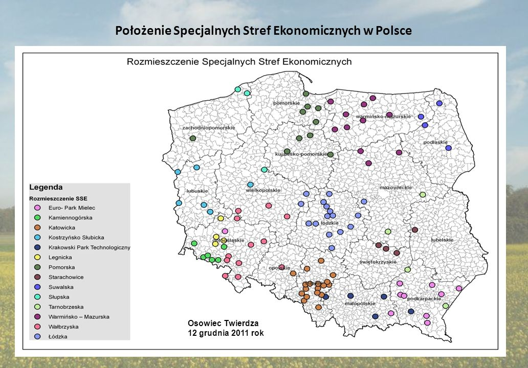 Położenie Specjalnych Stref Ekonomicznych w Polsce