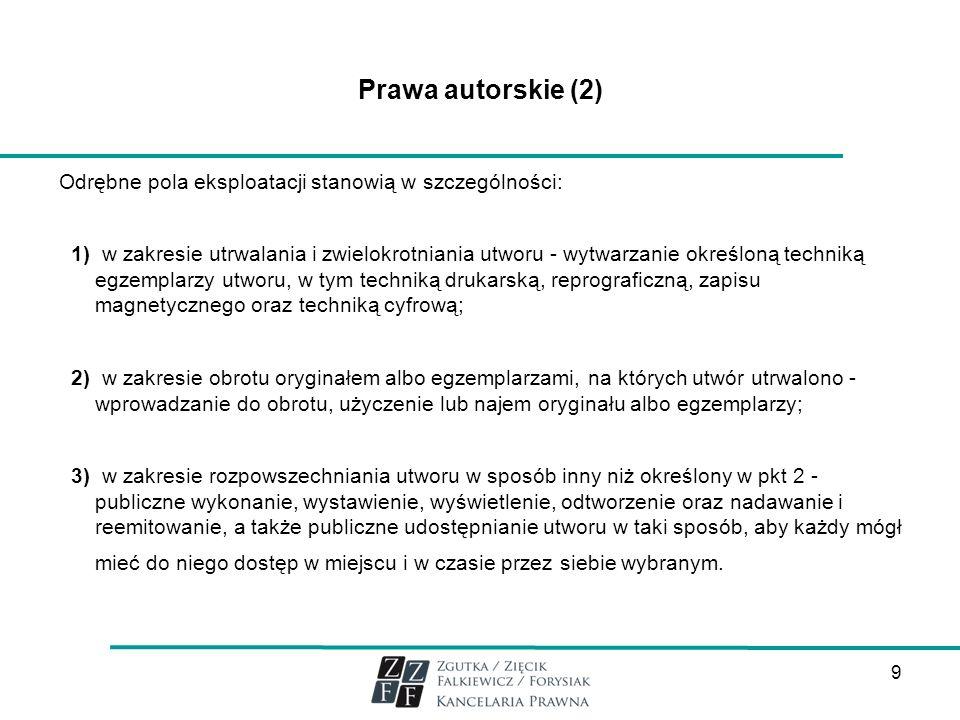 Prawa autorskie (2) Odrębne pola eksploatacji stanowią w szczególności: