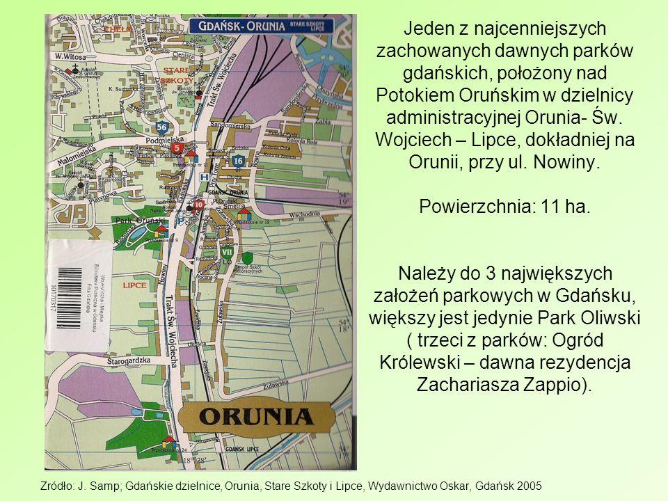 Jeden z najcenniejszych zachowanych dawnych parków gdańskich, położony nad Potokiem Oruńskim w dzielnicy administracyjnej Orunia- Św. Wojciech – Lipce, dokładniej na Orunii, przy ul. Nowiny. Powierzchnia: 11 ha. Należy do 3 największych założeń parkowych w Gdańsku, większy jest jedynie Park Oliwski ( trzeci z parków: Ogród Królewski – dawna rezydencja Zachariasza Zappio).