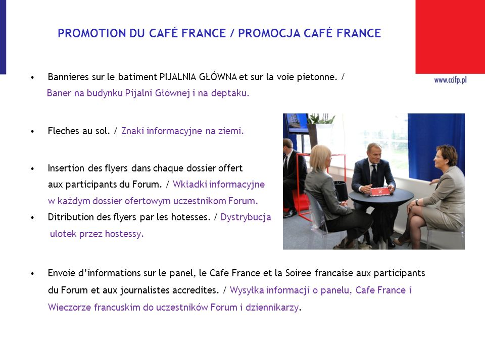 PROMOTION DU CAFÉ FRANCE / PROMOCJA CAFÉ FRANCE