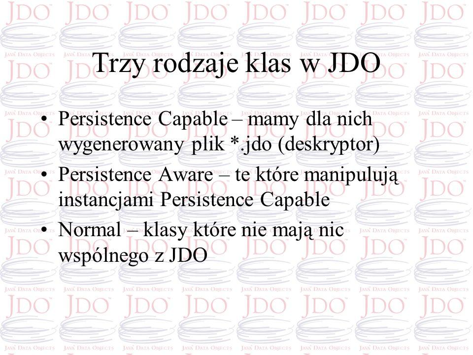 Trzy rodzaje klas w JDO Persistence Capable – mamy dla nich wygenerowany plik *.jdo (deskryptor)