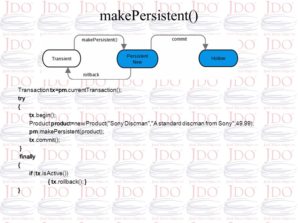 makePersistent() Transaction tx=pm.currentTransaction(); try {