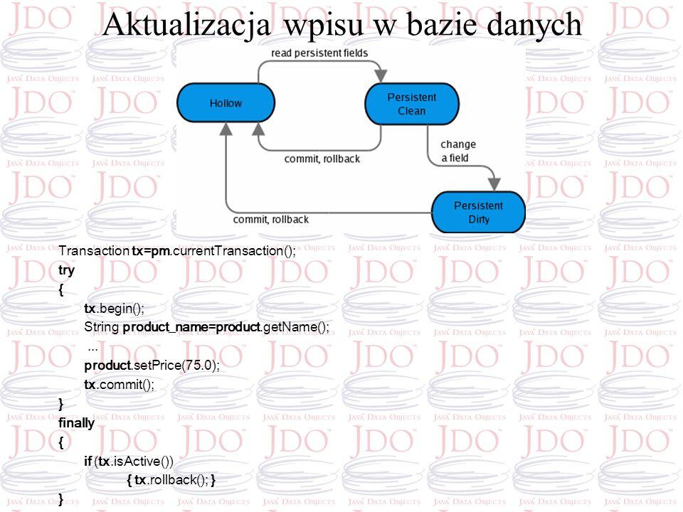 Aktualizacja wpisu w bazie danych