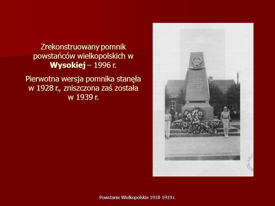 Zrekonstruowany pomnik powstańców wielkopolskich w Wysokiej – 1996 r.